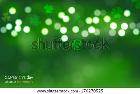 St.Patrick's day bokeh abstract background
