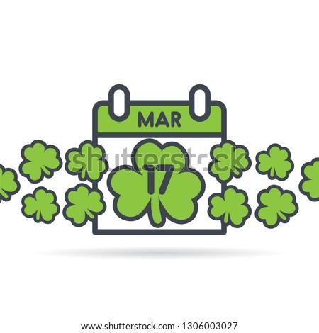 St Patrick's Day calendar. March 17th illustration