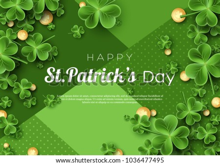 St. Patrick's Day card. Clover leaves with coins on green background for greeting holiday design. Vector illustration.