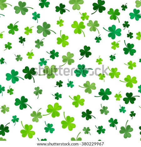St Patrick's Day Clover seamless pattern. Vector illustration for lucky spring design with shamrock. Green clover isolated on white background. Ireland symbol pattern. Irish decor for web site.
