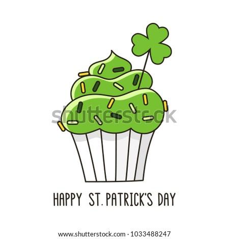 St Patrick's day cupcake. It can be used for card, sticker, patch, phone case, poster, t-shirt, mug etc.