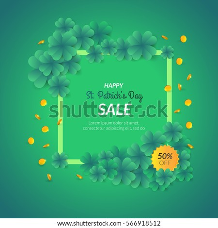 St. Patrick's day decorative background with many clovers. Can be used as greeting card or promotion, invitation