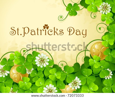 St. Patrick's Day frame with clover and golden coin 7
