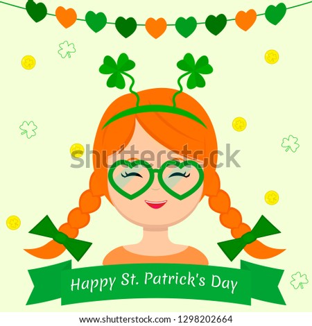 St.Patrick 's Day. Girl dressed as a gnome, with a clover rim, green glasses in the shape of a heart and red braids in cartoon style, flat style, vector.