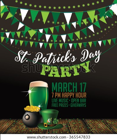 St. Patrick's Day green beer party invitation poster. EPS 10 vector.