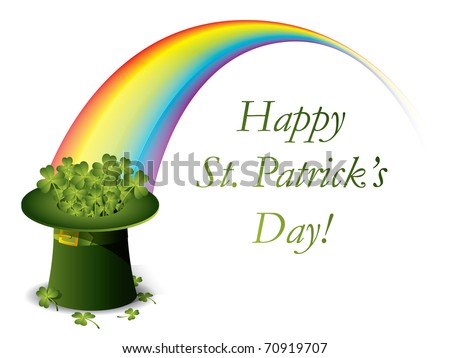 St. Patrick's day green hat of a leprechaun with rainbow