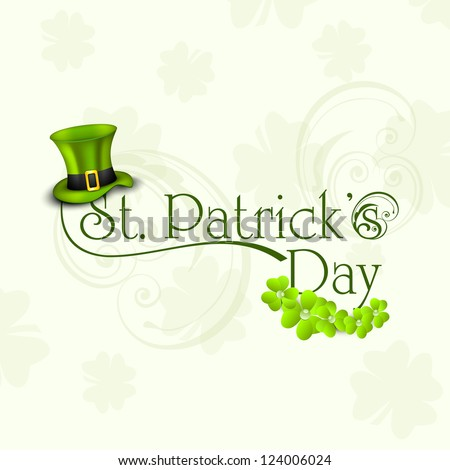 St. Patrick's Day greeting card or background with Leprechaun hat and shamrock. EPS 10.