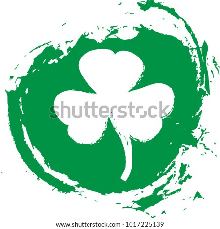 St. Patrick's Day greeting card template on a grunge texture green shape with lucky shamrock clover for print, t-shirt, decorative festive design element.