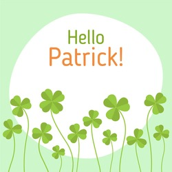 St. Patrick's Day greeting flat vector illustration. Lucky charms shamrock. Four-Leaf Clover.