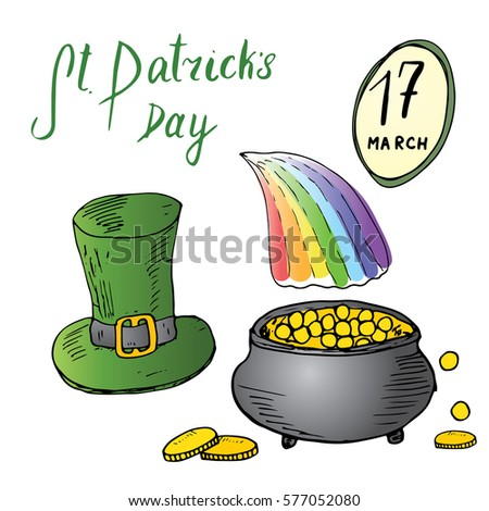 st patrick's day hand drawn