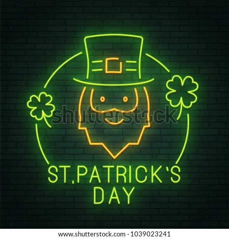 St. Patrick's Day. Holiday. Neon pattern. Clover. Neon sign. logo, emblem and label. banner. Vector illustration