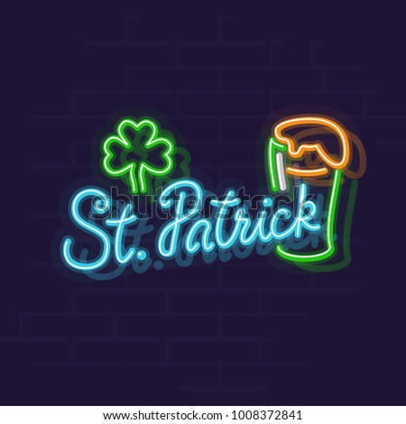 St. Patrick's day neon banner. Lucky leaf and green beer in irish stout glass. Line art style neon illustration on brick wall background. Stock photo ©