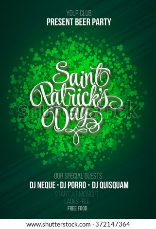 St. Patrick's Day party poster vector background