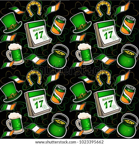 St. Patrick's Day Pattern. Hat, horseshoe, pot of gold, beer. seamless pattern bright elements on a dark background. Irish flags and calendar with the date of celebration - March 17th. vector picture.