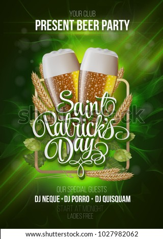 St. Patrick's Day poster. Beer party green background with calligraphy sign and two yellow beer glasses. Vector illustration