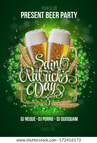 st patrick's day poster beer