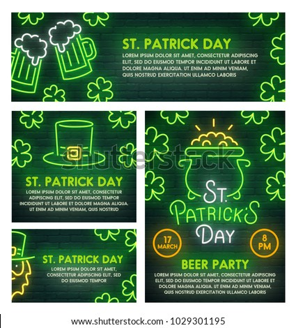 St. Patrick's Day poster, flyer and banner template. Style sign neon. St. Patrick's Day logo, emblem and label. Bright signboard, light banner.  Vector illustration.