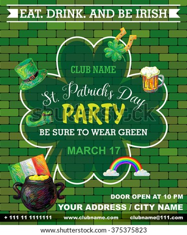 st patrick's day poster green