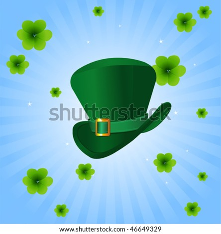 St. Patrick's Day radial  background with leprechaun hat