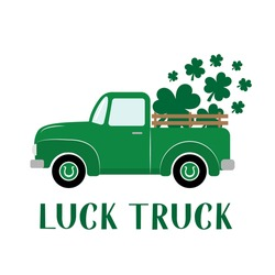 St. Patrick's day retro truck delivers shamrocks. Saint Patricks day greeting card. Green vintage pickup. Vector template for banner, poster, flyer, postcard, etc.