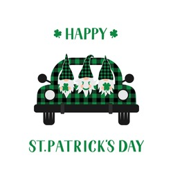 St. Patrick's day retro truck with cute cartoon gnomes. Saint Patricks day greeting card. Green buffalo plaid pickup. Vector template for banner, poster, flyer, postcard, etc.