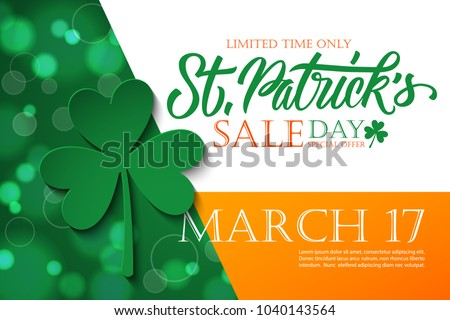 St. Patrick's Day Sale banner. Irish national holiday special offer background with hand lettering and four leaf clover for holiday shopping. Vector illustration.