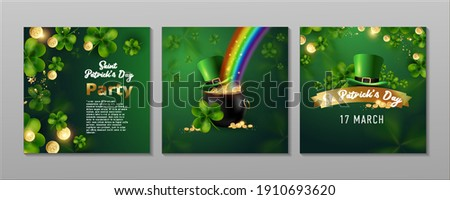 St. Patrick's Day set of flyers brochures, invitation to a holiday, corporate holiday. a leprechaun hat, a shamrock, a pot of gold coins, a rainbow, on a dark green background. Vector illustration. Сток-фото ©