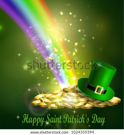 St. Patrick s Day symbol green hat and gold