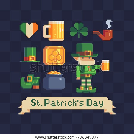 St. Patrick's day symbols icons set. Pixel art 80's style. Leprechaun with a mug of beer. Traditional Irish holiday. Greeting card or invitation design elements. Isolated vector illustration.