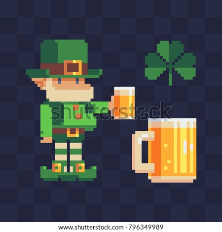 St. Patrick's day symbols. Pixel art set. Leprechaun with a mug of beer. Traditional Irish holiday. Greeting card or invitation design elements. Isolated vector illustration.