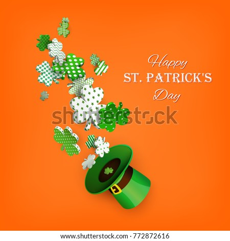 St. Patrick's Day. Traditional green leprechaun hat and 3d clover leaves with geometric patterns. Vector illustration