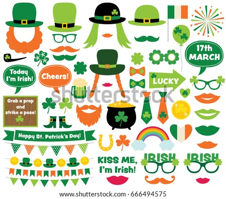 St. Patrick's Day vector design elements and photo booth props