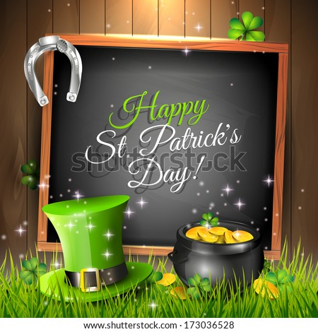 St. Patrick's Day - vector greeting card with green, hat, pot and chalkboard in grass
