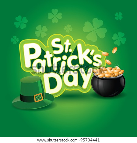 St. Patrick's Day vector illustration. Elements are layered separately in vector file.