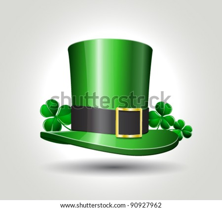 St. Patrick's hat with clover, vector illustration
