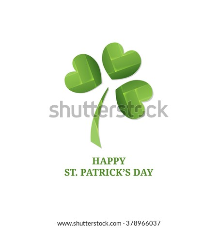 St. Patricks day background with clover. Paper shining clover.