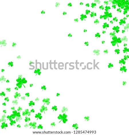 St patricks day background with shamrock. Lucky trefoil confetti. Glitter frame of clover leaves. Template for party invite, retail offer and ad. Celtic st patricks day backdrop.
