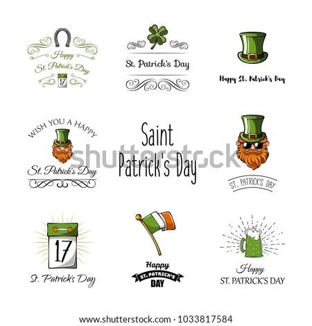 St Patricks day labels set. Calendar, clover, leprechaun, four leafy, Ireland, green, beard horseshoe flag beer ale Saint Patrick Irish