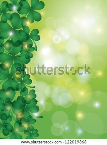 St Patricks Day Shamrock Leaves Border with Sparkles and Bokeh Background Illustration Vector