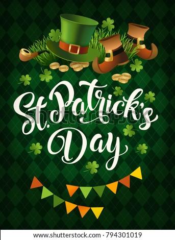 St. Patricks Day vintage holiday poster design. Vector illustration.