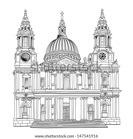St. Paul Cathedral, London city, UK. World famous landmark drawing isolated. Travel  background.