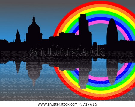 St Paul's cathedral and London skyscrapers reflected with rainbow