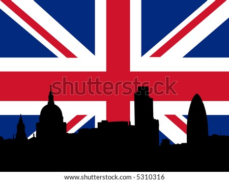 St Paul's cathedral and London skyscrapers with British flag