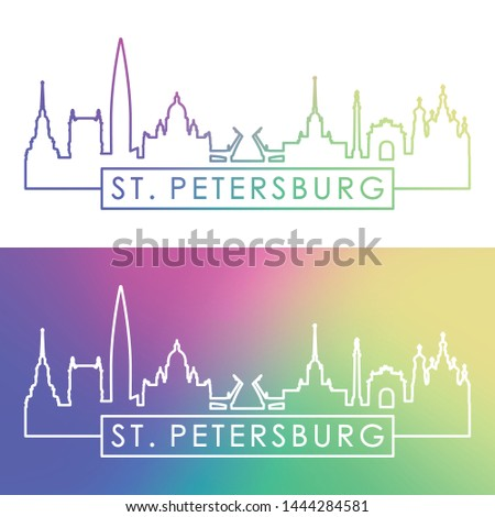 St. Petersburg city skyline. Colorful linear style. Editable vector file.