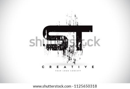 ST S T Grunge Brush Letter Logo Design in Black Colors. Creative Brush Letters Vector Illustration. Stock fotó ©