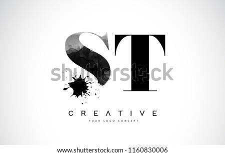 ST S T Letter Logo Design with Black Ink Watercolor Splash Spill Vector Illustration.