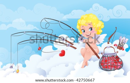 St.Valentine cartoon with funny Cupid