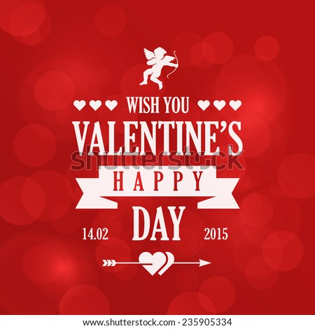 St. Valentine Day Vintage Retro Typography Lettering Design Greeting Card on Bokeh background.  Vector illustration Valentine\'s day of Love Template. Heart, arrow, cupid icons.