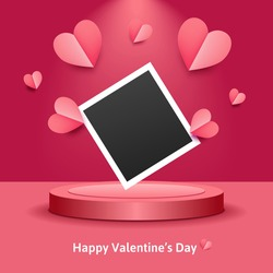 St.Valentine's day design. Realistic pink paper cut hearts. Empty photo frame for your photography or text. Holiday banner, poster, flyer, brochure, greeting card. Vector background with podium, stage