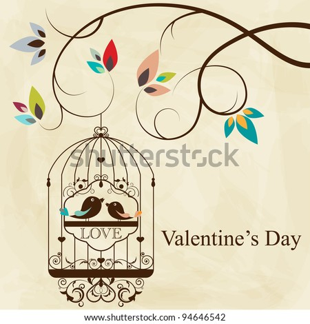St. Valentine's day greeting card with birds - stock vector